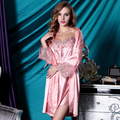 Imitation Silk Twinset Bathrobes Female Sleepwear Embroidery Long-Sleeved Lace Nightgowns Silk Satin Robe Sets