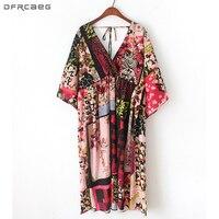 Harajuku Big V Neck Backless Sexy Summer Dress 2018 Boho Holiday Beach Floral Dresses Women Chiffon Kimono Vestido Midi Elegant