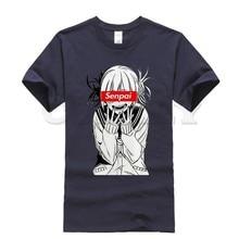 цена на 2019 new T-shirt Round neck ahegao himiko toga Cool Japan Anime Cartoon Black And White Summer dress men tee cos play
