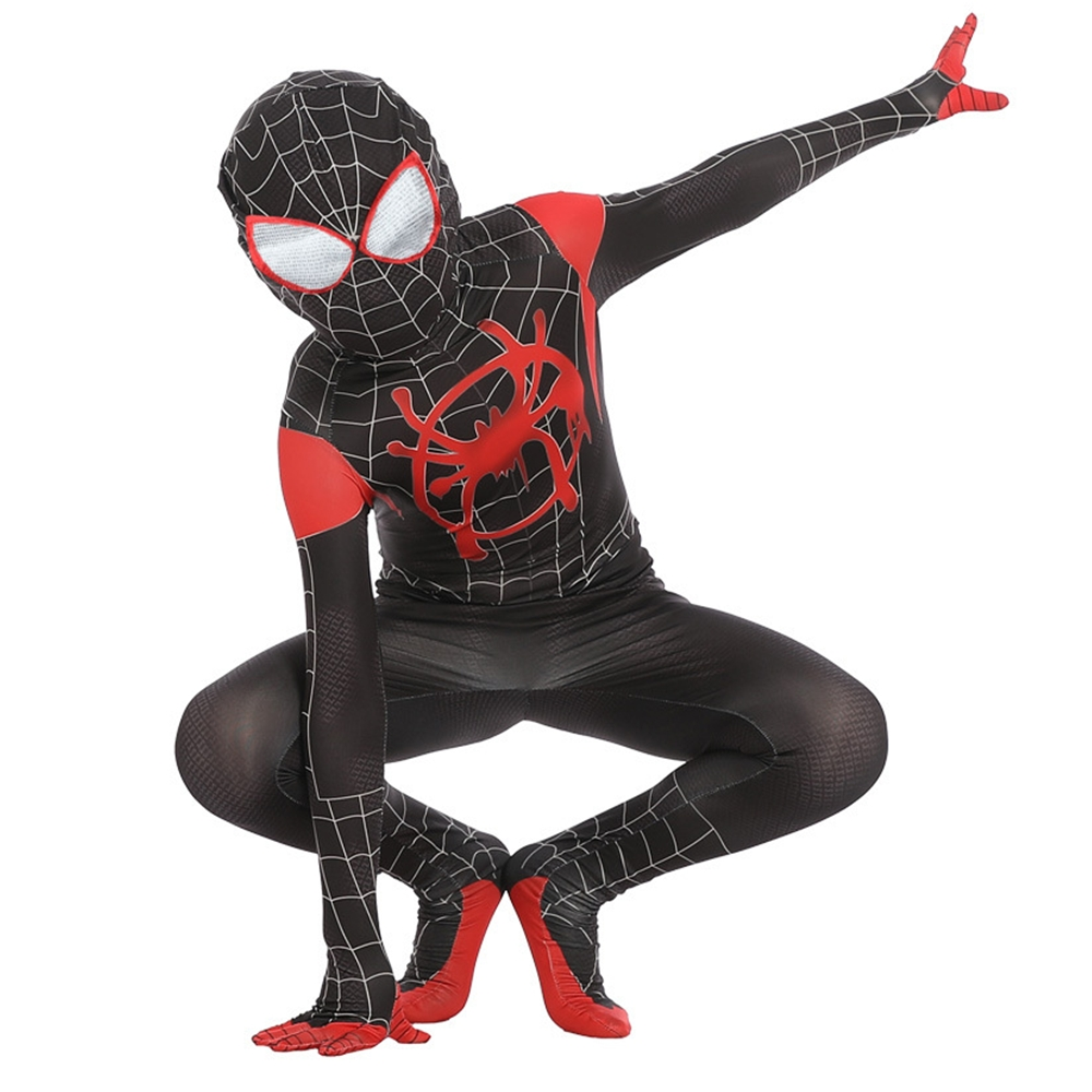 Spider Man: Into the Spider-Verse Miles Morales Halloween Party Cosplay Costume Superhero Kids Men Boy Spiderman Suit Bodysuit