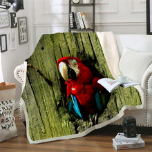 Plstar Cosmos colorful Parrot brid Blanket 3D print Sherpa on Bed Kids Girl Flower Home Textiles Dreamlike style-9
