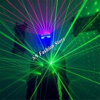 T826 1 Laser costumes Green light dj dance laser man wears discoparty laser gloves led mask ballroom dance led costumes clothing
