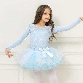 Vestidos de balé para meninas collant crianças manga longa trajes de balé vestido de dança de renda tutu saia bailarina tutu ballet