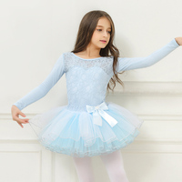 ballet dresses for girls leotard Children long sleeve ballet costumes lace ballet dress dance tutu skirt