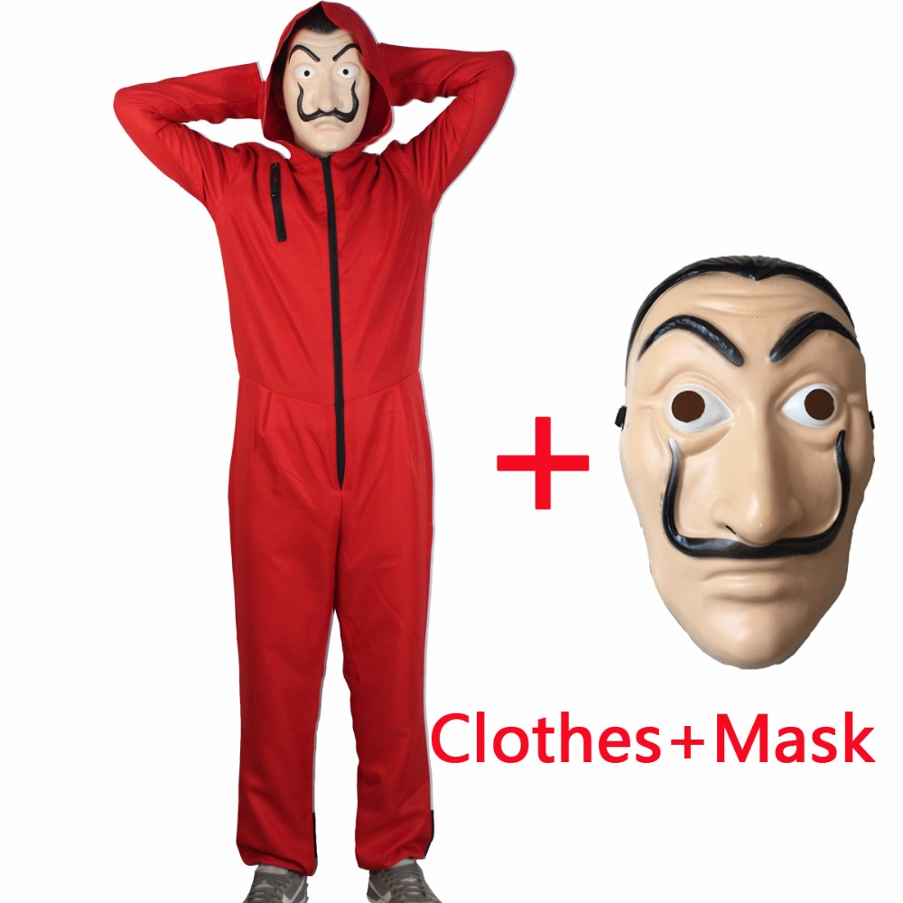 Salvador Dali Movie Costume Money Heist The House of Paper La Casa De Papel Cosplay Halloween Party Costumes with Face Mask(China)
