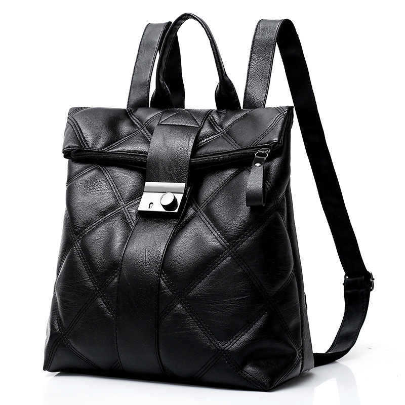 dabd63f73c4 Diamond Lattice Women Backpack Soft PU Leather school bag For Teenager  Girls Black Female Rucksack Mochila Anti-theft Travel bag