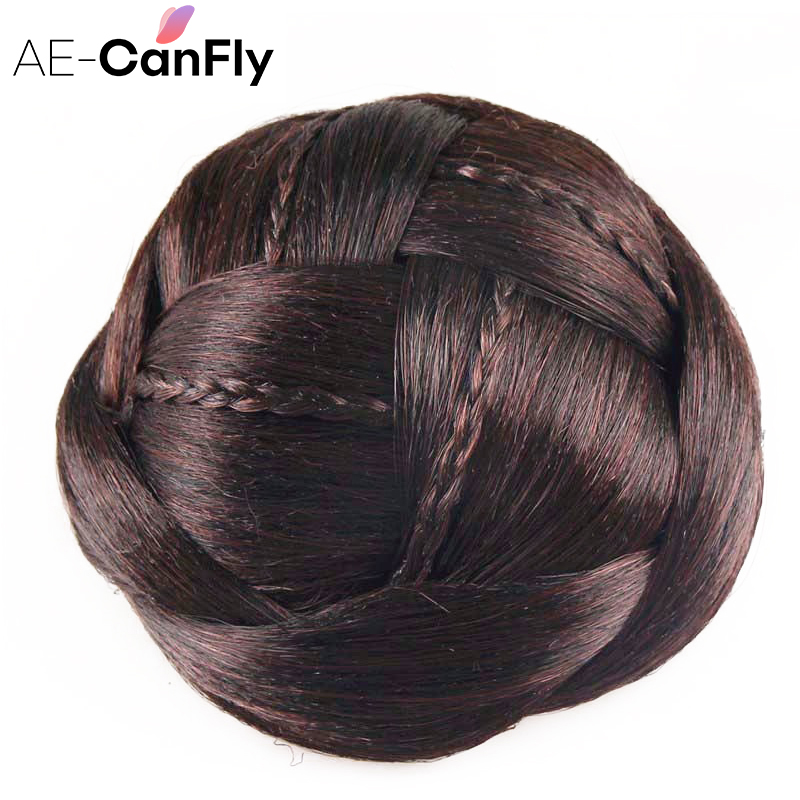 AE-CANFLY New Novelty Hair Accessories for Women Good quality Hair Braided Chignon Synthetic Hair Bun Extensions HB053 все цены