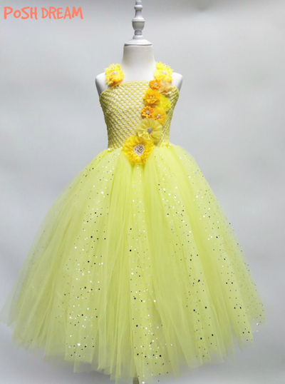 POSH DREAM Princess Belle Flower Girls Party Wedding Dresses Shining Tulle Kids Clothes for Girls Unicorn Cosplay Tutu Dress baby toddlers girls dress unicorn beading floral tulle princess tutu dresses kids cosplay flower pearl party dress kids clothing