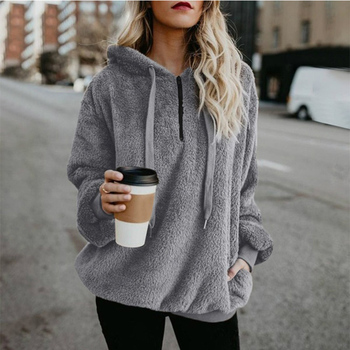 Wipalo Women Fleece Hoodies 2019 Long Sleeve Hooded Pullover Sweatshirt Autumn Winter Warm Zipper Pocket Fur Coat Plus Size 5XL 6