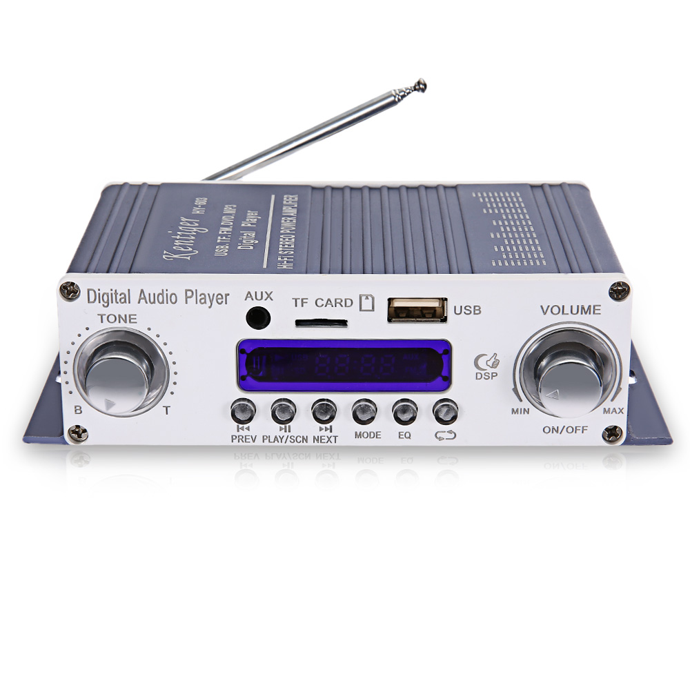 цена на Original Kentiger HY-603 Portable HiFi Stereo Power Digital Amplifier W/ FM IR Control FM MP3 USB Playback Support Disk TF Card