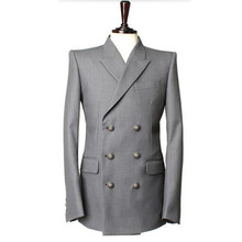 Gray men suits jacket double breasted groom wedding tuxedos jacket custom made formal business suits jacket