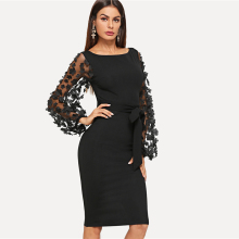 Black Party Elegant Flower Applique Contrast Mesh Sleeve Matching Form Belted Solid Dress Women Streetwear Dresses plus flower applique knot bell sleeve bardot dress