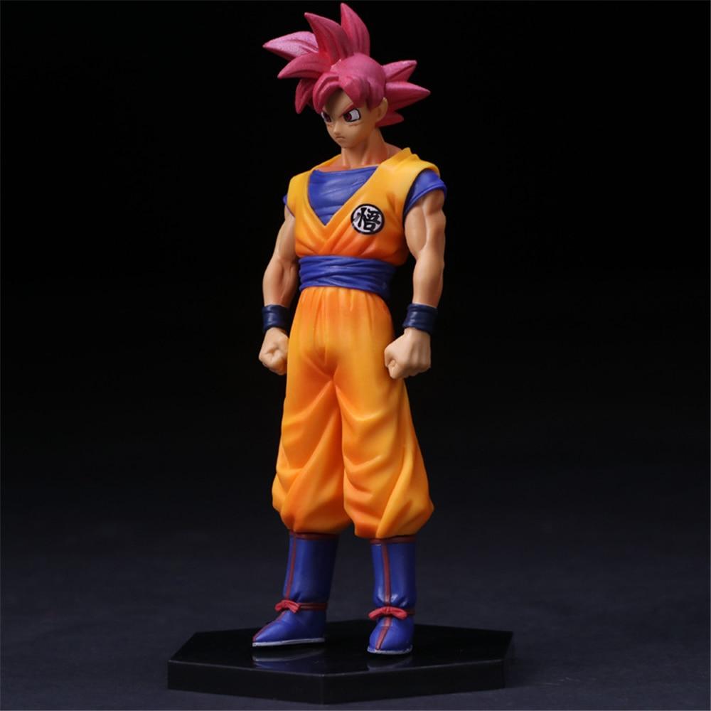 WHSSXZ Anime Dragon Ball Z Red Hair Son Goku Super Saiyan God PVC Action Figure Collectible Model Toy 16CM