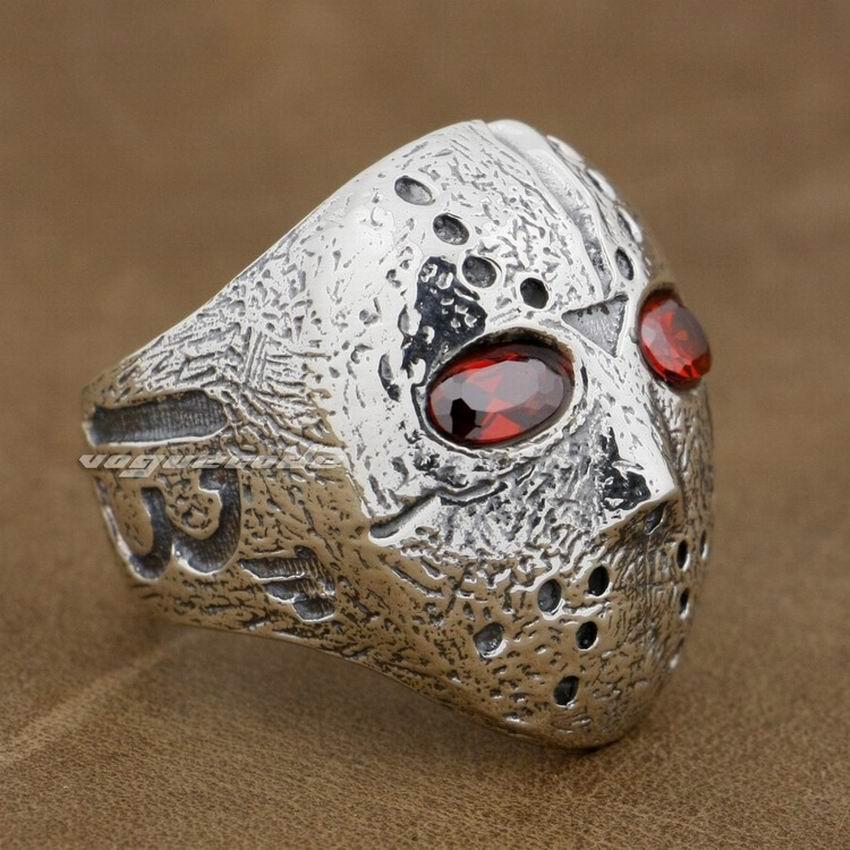 Halloween Jason Masque de Hockey 925 Sterling Silver Mens Biker Rocker Anneau 9D004