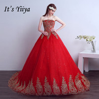 2017 New Style Real Photo Strapless Red Sweep Brush Train Golden Lace Trailing Wedding Dress Custom