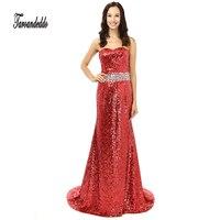 Scollo a cuore caldo rosso argento bordare sash sequin prom dress guaina abito lungo da sera party dress