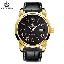 2016 Genuine Orkina Male Watch Leather Men s Quartz Calendar Men s Watches Waterproof Watches