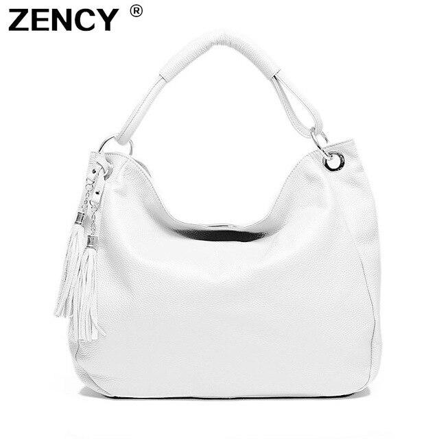 ZENCY New 100% Genuine Leather Women's Handbag Female First Layer Cowhide Messenger Bags Cross Body Long Handel Strap Tassel Bag