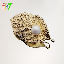 Costume-Pin Metal-Brooch Jewelry Gift Elegant Women F.J4Z for Hot Stunning Party Golden-Leaves