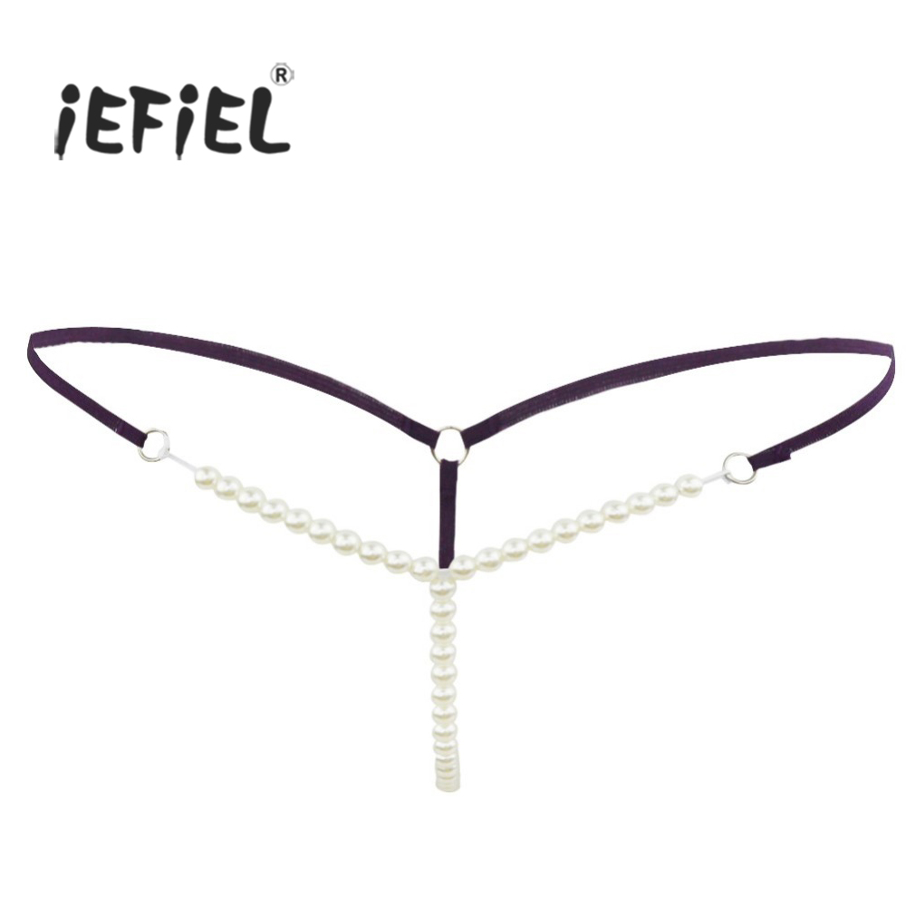 iEFiEL 7 Color Women Lingerie Faux Pearls G-string Briefs Lingerie Underwear Underpants T-front Ladies Wetlook Sexy Panties