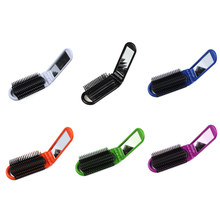 Professional Mini Folding Mirror Makeup Comb Anti-static Travel Hair Brush Portable Airbag Massage Pocket Size Purse Hair Comb vintage style portable folding airbag massage comb with mirror