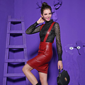 New Europe Fashion Show Ladies Autumn Two Piece Set Sexy PU Leather Skirt Jupe Hollow Out Lace Blouse Shirt Clothing
