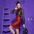 Nueva Europa de La Moda Muestran Damas Otoño Jupe Falda de Dos Piezas Atractivo de Cuero de LA PU Ahueca Hacia Fuera La Blusa de Encaje Camisa de la Ropa