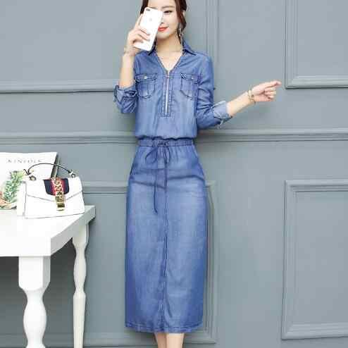 Джинсовые платья 2018 летнее платье Для женщин промывают синий женский с длинным рукавом джинсовое платье Повседневное Ziper V шеи тонкая талия WF753