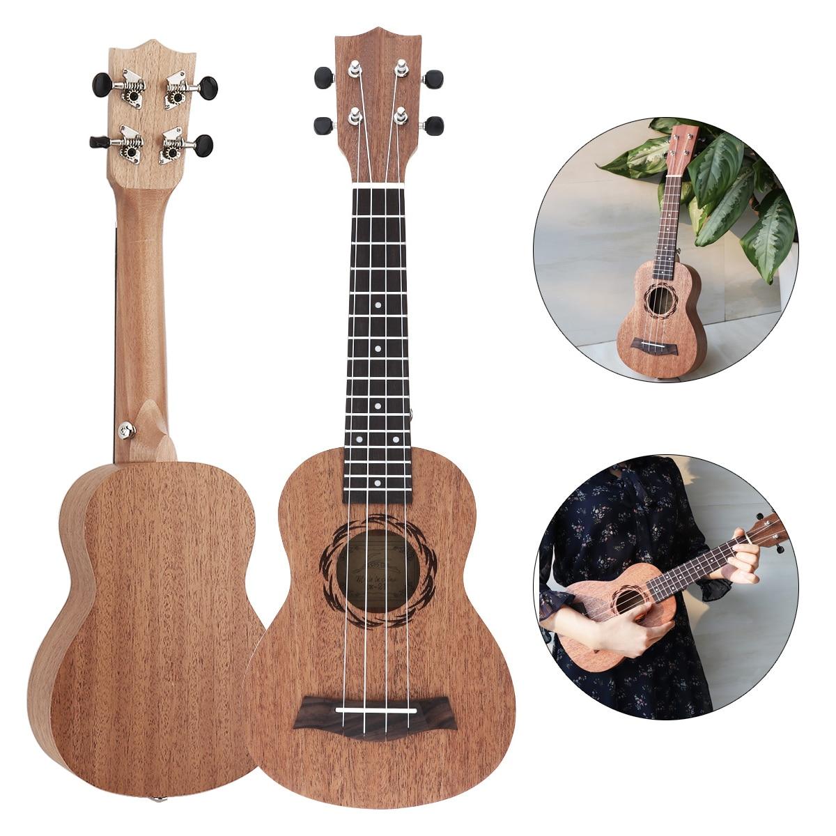 21 Inch Soprano Ukulele Sapele Wood 15 Fret Four Strings Hawaii Guitar String Musical Instruments21 Inch Soprano Ukulele Sapele Wood 15 Fret Four Strings Hawaii Guitar String Musical Instruments
