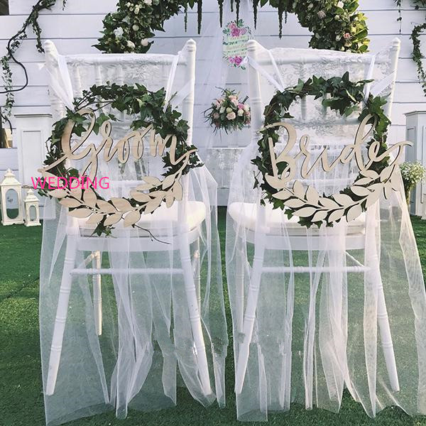Groom and bride chair back signs,olive branch wooden chair sign, wedding calligraphy,wedding photo prop