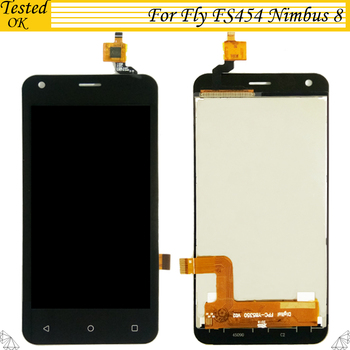 100% Tested Working For Fly FS454 Nimbus 8 Touch Screen Digitizer And Lcd Screen Display Black White Color For FS 454  LCD