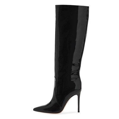 Классические Стильные женские черные высокие сапоги из лакированной кожи Элегантные сапоги до колена на высоком тонком каблуке с острым но