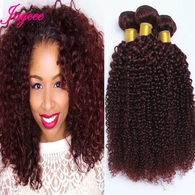 Red Hair 8a Malaysian Ombre Kinky Curly Hair Weave Burgundy Ombre