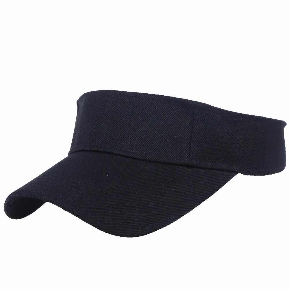94d4547ecc0 solid color acrylic active casual women men summer cap visor outdoor cool  pattern hats wholesale sun