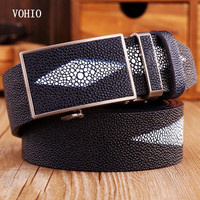 VOHIO Newbusiness Men S Leather Belt Pearl Fish Automatic Belt Buckle Dot The Diamond Grind Arenaceous