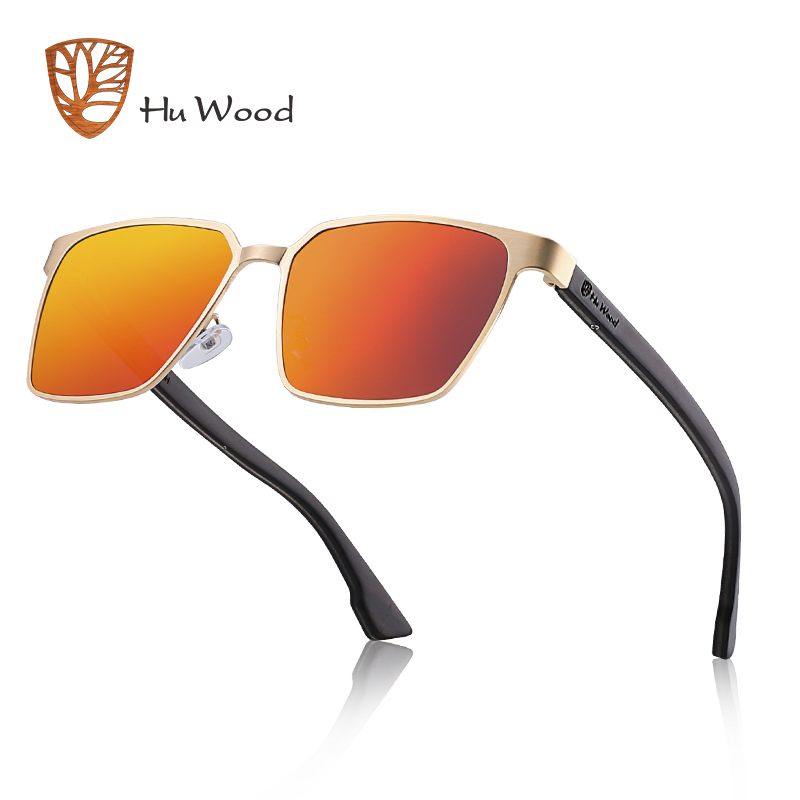 9faf1370d0 HU WOOD Metal Frame sunglasses spring wood Temple with polarized lenses and  4 colors and sunglasses