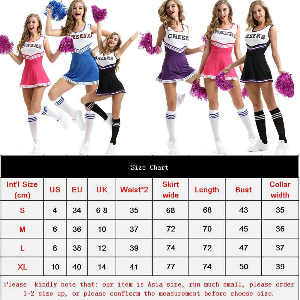 Cheerleaderka kostiumy Outfit High School Uniform muzyczne kostium pompony S-XL