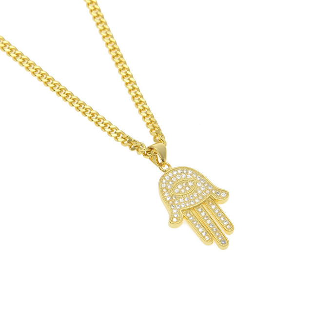 Copper gold silver plated high quality zircon hamsa hand pendants copper gold silver plated high quality zircon hamsa hand pendants necklaces link chain amulet hand aloadofball Gallery