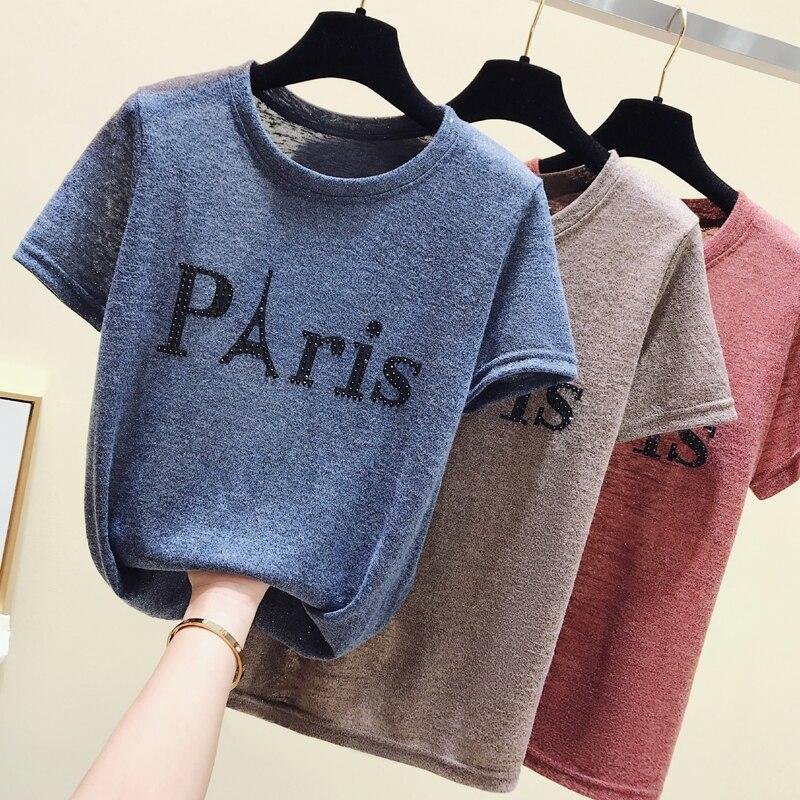 Eiffel Tower Fashion Print Women T-shirt Summer Shot sleeve Soild O-Neck Casual Top