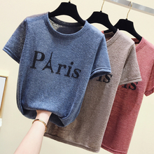 цена на Eiffel Tower Fashion Print Women T-shirt Summer Shot sleeve Soild O-Neck  Casual Top