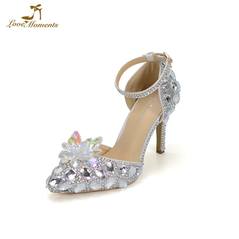 Pointed Toe Women Spring High Heels Crystal Flower Ankle Strap Bride Party Dancing Shoes Cinderella Pumps Bling Wedding Shoes luxury bling bling crystal pointed toe pumps silver blade heels women party dress shoes sexy slip on wedding bride shoes 2018
