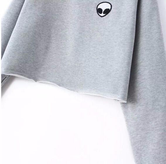 Aliens ET Drukowanie Crew neck Bluzy bluzy bluzy z kapturem Bluzy harajuku Kobiety Odzież Feminina Jumper Poty Luźne Krótkie Runo Ciepłe 8