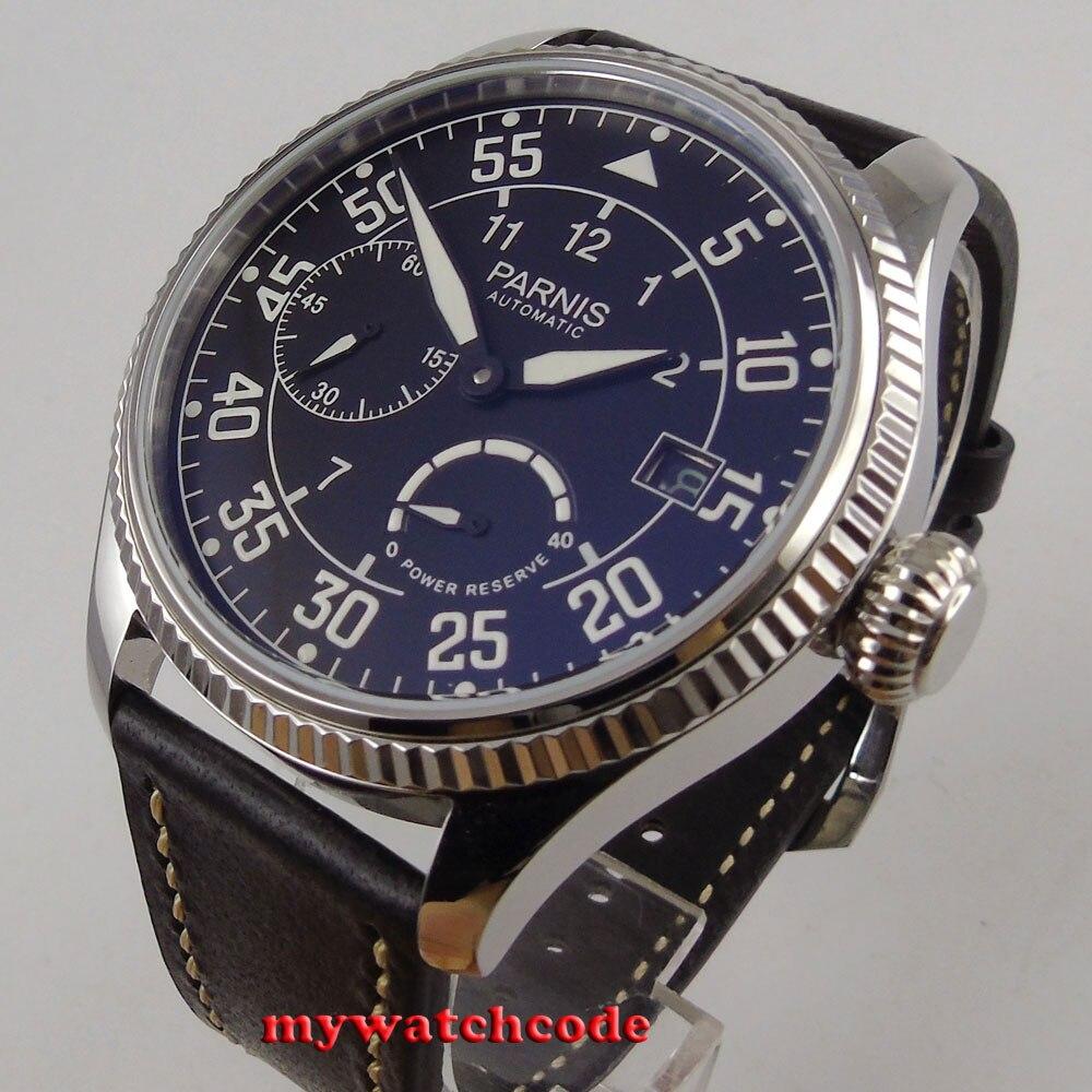лучшая цена 45mm Parnis black dial date power reserve ST2530 Automatic Movement Mens Watch