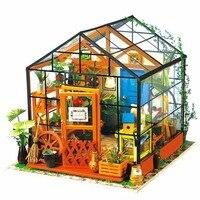 Miniature Maison de Poupée En Bois Dollhouse Miniature 3D Jardin Puzzle Jouet DIY Modèle Kits Doux Modèle À Effet De Serre Avec La Lumière