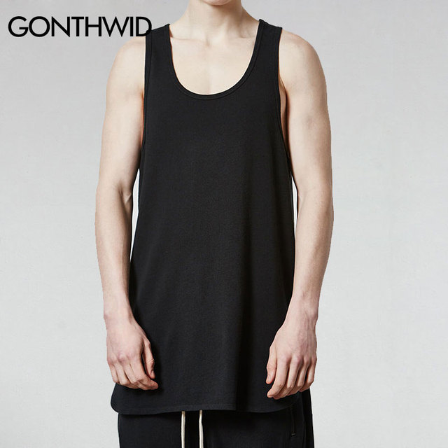 a7d93f827fa96 GONTHWID Mens Extended Long Tank Top Men s Hip Hop Oversized Irregular  Sleeveless T Shirts Male Fashion