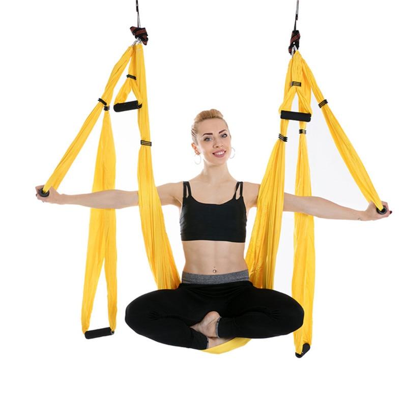 Remise en forme De Yoga Hamac Swing Anti-gravité Aérienne Sangles Parachute Tissu Haute Résistance Décompression Hamac De Yoga Gymnastique Suspendu