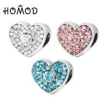 HOMOD Silver Color Bead Charm European Bow Heart-shaped Rhinestones Pendant Fit Brand Bracelet Gift