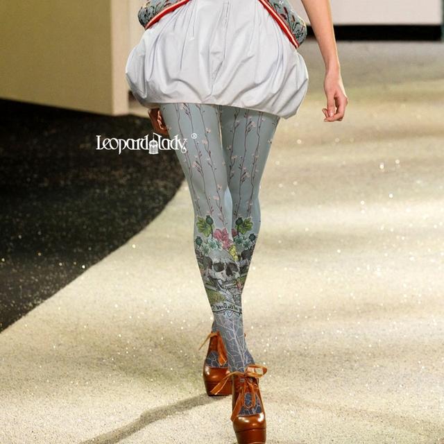 2017 Impressão Hot Sale Venda Oferta Tornar Meia-calça Meias Mulheres Calças Justas Moda Feminina Impressão Dos Desenhos Animados Esqueleto Flores de Veludo