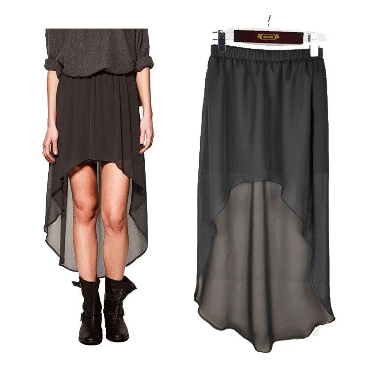 ASDS Sexy haut bas printemps jupes femmes avant court dos longues jupes en mousseline de soie noir WQZ8107