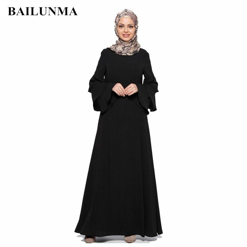 SELX Women Muslim Long Sleeve Crewneck Solid Modal Arabic Dress